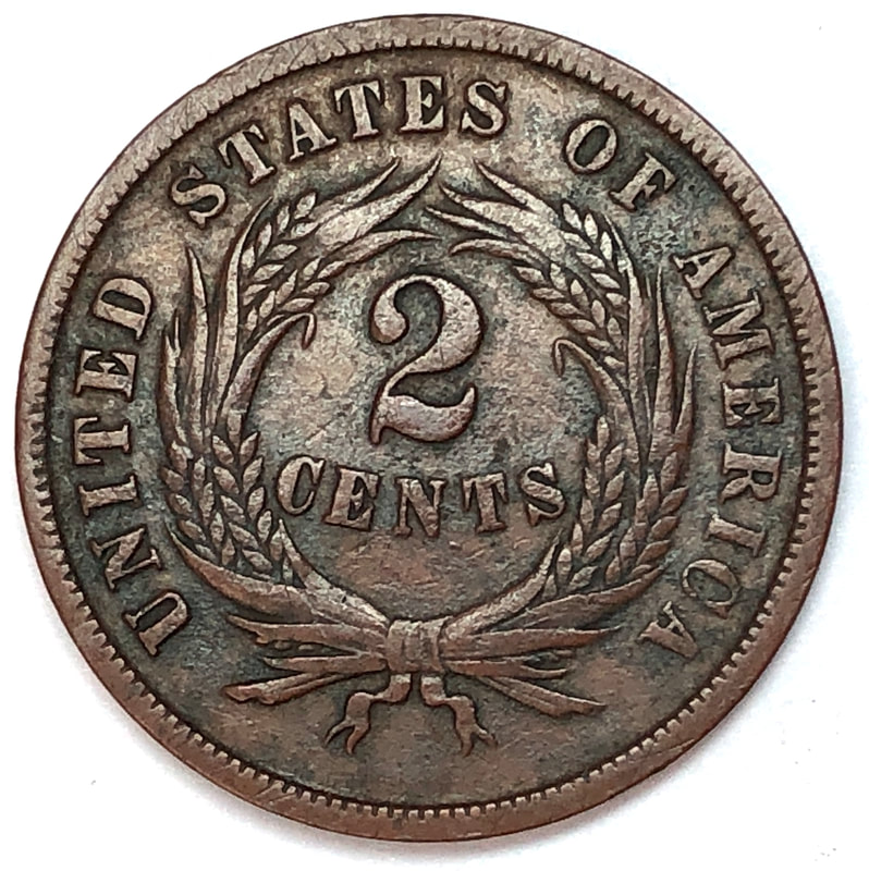 Reverse of an 1865 U.S. Two-Cent Piece