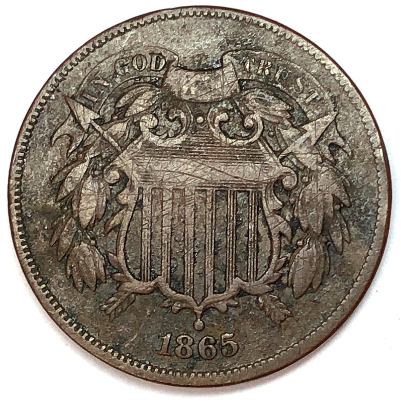 Obverse of an 1865 U.S. Two-Cent Piece
