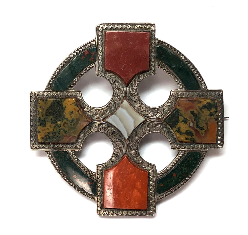 Victorian era antique Scottish agate brooch featuring bloodstone, agate and jasper set in a Celtic Cross motif