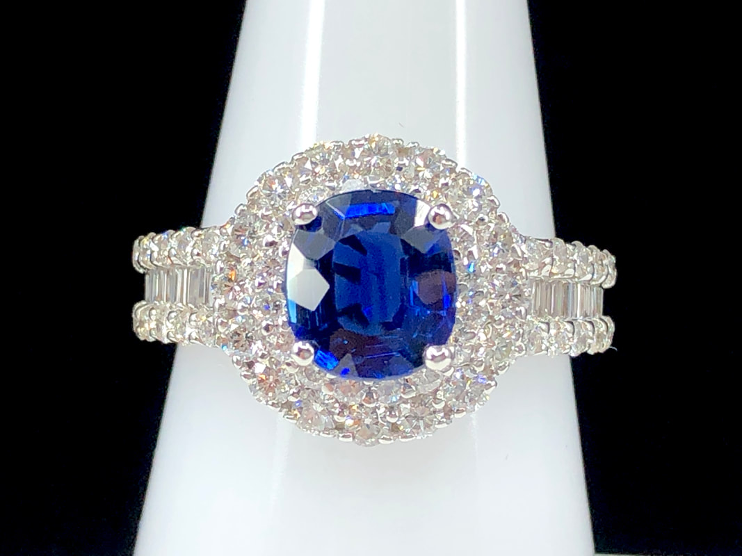 1.89 ct. natural sapphire and 1.39 ctw diamond engagement ring in 18K white gold