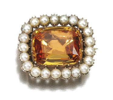 Antique topaz and pearl brooch, sold at Sotheby's