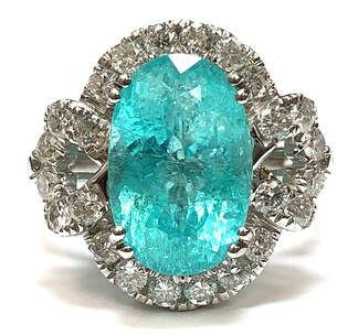 Michael Christoff 5.64 carat natural Paraiba tourmaline and diamond ring in 18K white gold