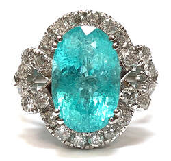 5.64 carat natural Paraiba tourmaline set in an 18K white gold & 1.00 cttw diamond designer setting, by Michael Christoff of Beverly Hills, California