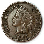 Obverse of a 1904 Type 3 Indian Head Cent