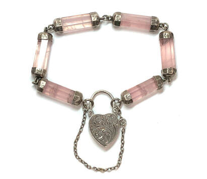Victorian Era antique gate bracelet featuring rose quartz links, fastened by a hand-chased, sterling silver, heart shaped padlock charm