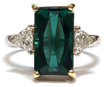 IGI-Certified 3.39 ct Bluish Green Tourmaline and 1/2 cttw Trillion Cut Diamond Ring in 14K White & Yellow Gold