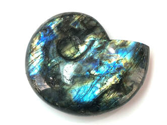 Large labradorite carving in the shape of a snail shell