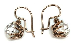Antique Victorian 14K rose gold buttercup earrings set with colorless brilliant cut French paste.