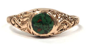 Victorian era ring featuring bloodstone set in 10K rose gold