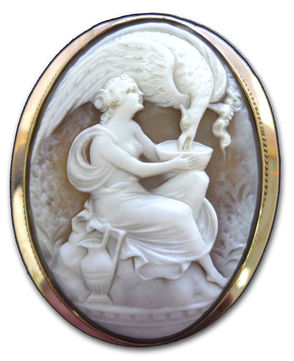 Incredibly-detailed and ornate, hand-carved sardonyx shell cameo of Hebe feeding Eagle Zeus