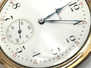 Porcelain-enamel pocket watch dial.