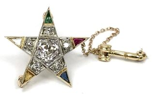Order of the Eastern Star women's Masonic star and gavel brooch set with old mine cut diamonds.