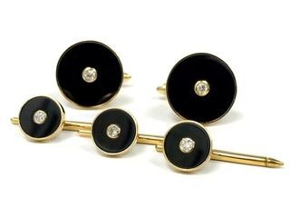 Vintage onyx and diamond cufflinks and studs set in 14 karat gold