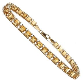Square cut golden topaz line bracelet in 14K gold