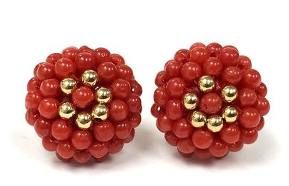 Vintage, hand-woven precious red coral bead, and gold bead earrings.  Made in Italy.
