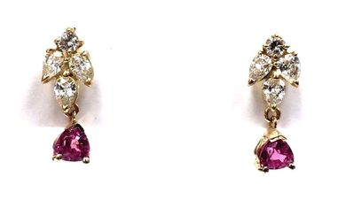 Trillion cut rhodolite garnet, round brilliant cut and pear shape diamond drop earrings in yellow gold