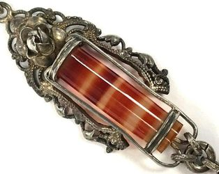 Vintage, German-made sardonyx and sterling necklace.