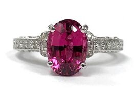 Fine rubellite tourmaline ring with pavé diamond accents in 14K white gold