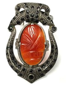 Carved carnelian chalcedony and marcasite in a vintage sterling silver scarf clip