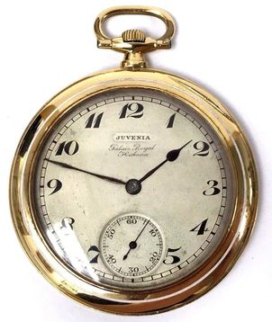 Antique Juvenia Palais Royal Habana size 19 pocket watch in an 18K gold enameled open face pocket watch
