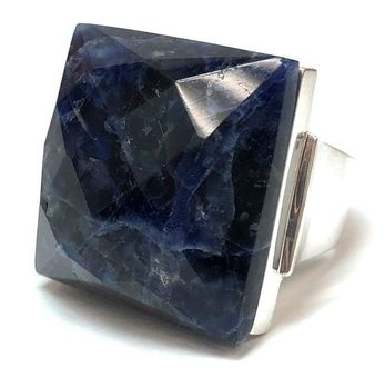 Massive, square-shaped, faceted sodalite cabochon set in a handmade sterling silver ring