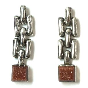 Vintage Mexican .950 sterling silver drop earrings set with goldstone glass