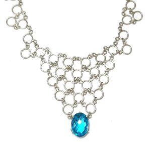 Beautiful, vintage Swiss blue topaz sterling silver bib necklace