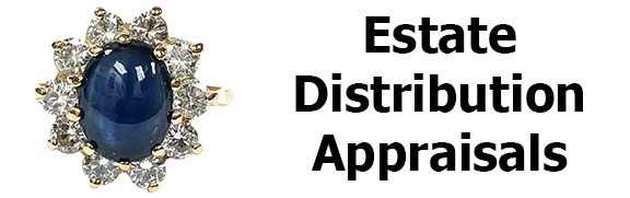 Estate jewelry appraisals for fair distribution amongst the heirs.  By a Certified Master Appraiser & Graduate Gemologist
