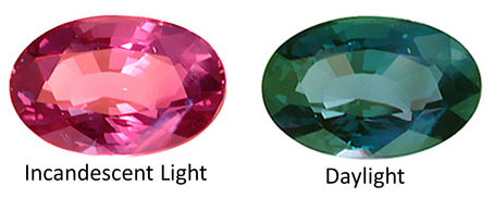 Color change alexandrite appears red in incandescent light and green in daylight