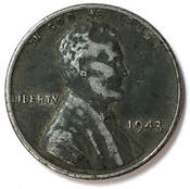 Obverse of a 1943 Wartime Steel Lincoln Cent