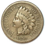 Obverse of an 1859 Type 1 Indian Head Cent