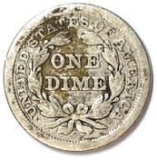Reverse of an 1855 Type 4 Seated Liberty Dime