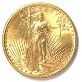 Obverse of a 1922 Saint Gaudens Double Eagle $20 Gold Piece