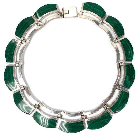 Vintage .950 silver malachite choker necklace by Alicia de la Paz Ortiz Cuevas of Taxco, Guerrero, Mexico