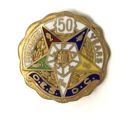 1950s vintage Order of the Eastern Star 50 Years Membership lapel pin