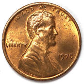 Obverse of a 1970 Lincoln Memorial Cent