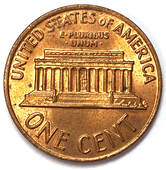 Reverse of a 1970 Lincoln Memorial Cent