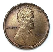 Obverse of a 1909 VDB Lincoln Wheat Cent