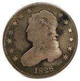 Obverse of an 1828 Capped Bust Quarter Dollar
