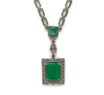 Vintage sterling silver, dyed green chalcedony & marcasite necklace