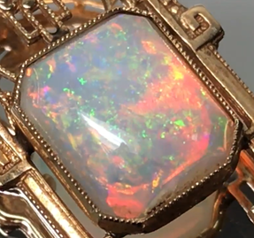 Flash play-of-color pattern in this precious white opal