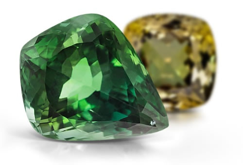 Zoisite in green and golden hues